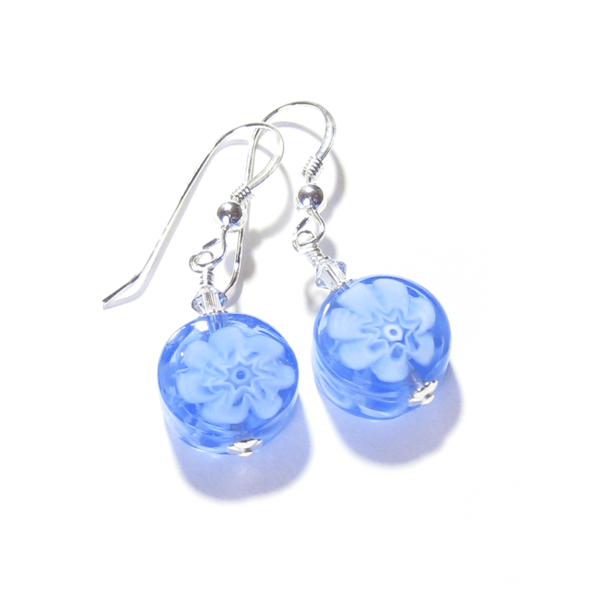 Murano Glass Blue Millefiori Coin Silver Earrings  #murano #earrings #handmade #jewelry #etsymntt #fashion