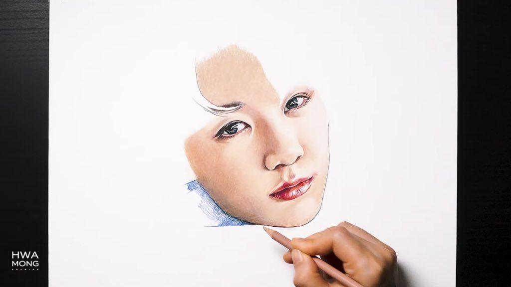 색연필로 BTS 정국 그리기 Drawing BTS Jungkook with colored pencil  - @YouTube #JK #Jungkook #fanart #drawing