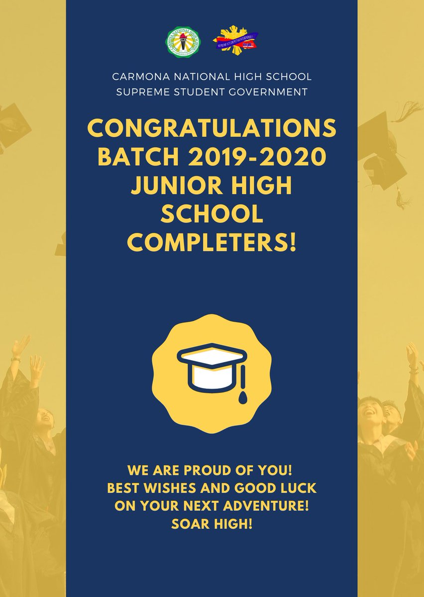 Congratulations Junior High School Completers of Carmona National High School Batch 2019-2020!  Special thanks to all the teachers that are behind the success of the Virtual Moving Up Ceremony.  Stay safe everyone! <br>http://pic.twitter.com/UWpV77XcrX