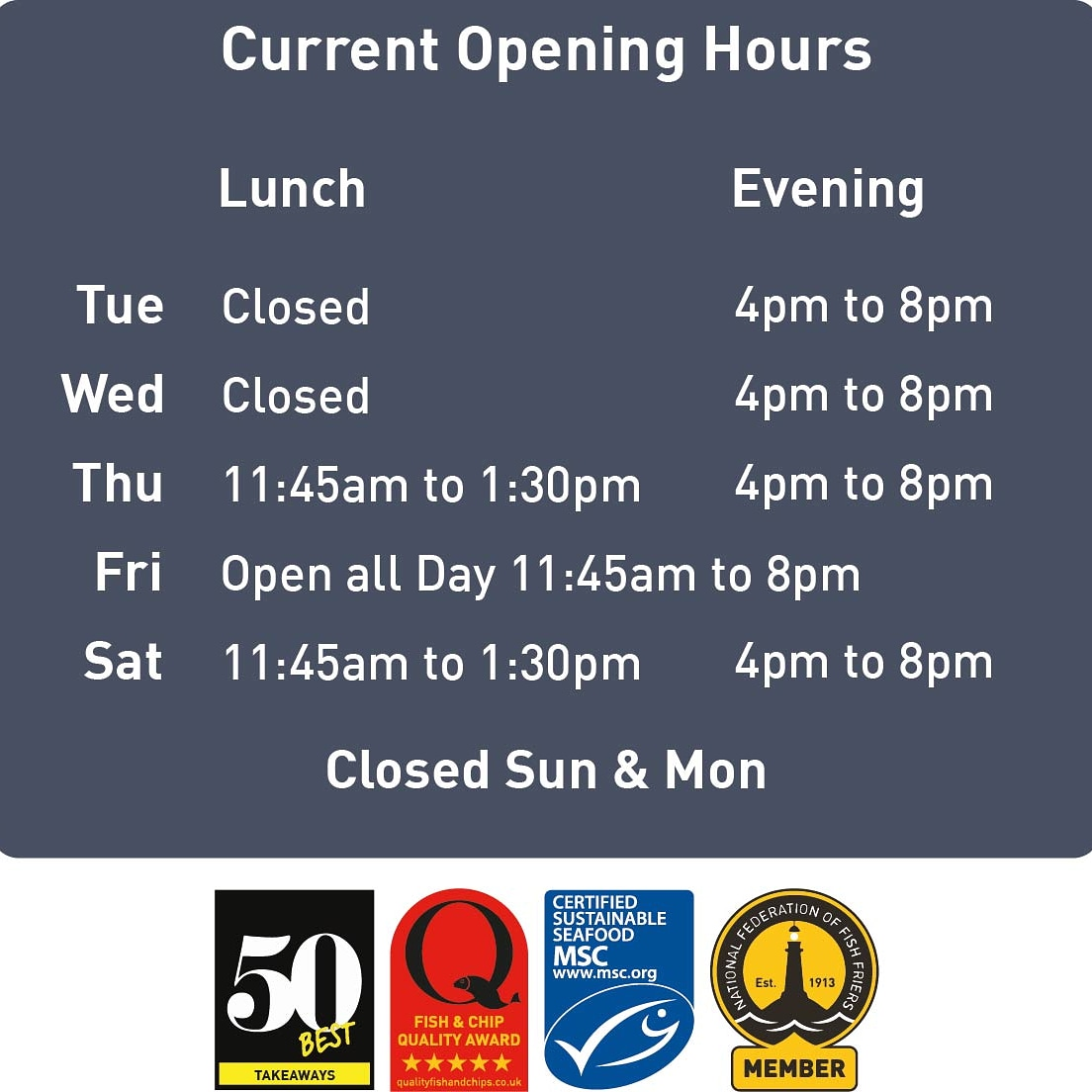 New extended opening hours. #fishandchips #doncaster #LunchTime #Awards #Foodie