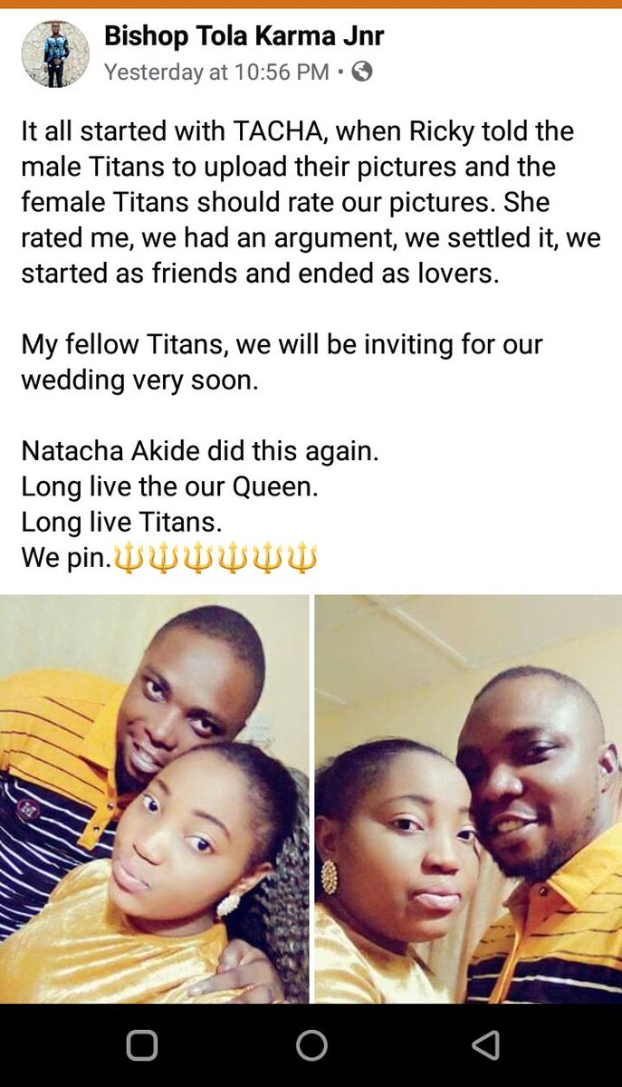 At some point some said all he does is tell them to post their pics , Well there's nothing as sweet as TitanXTitan Link up the Joy it brings  this is how we stay and remain together....My Facebook Titans doing the most ...Wedding bells in a bit .. #FocusOnTacha<br>http://pic.twitter.com/5CLpwF4qyK