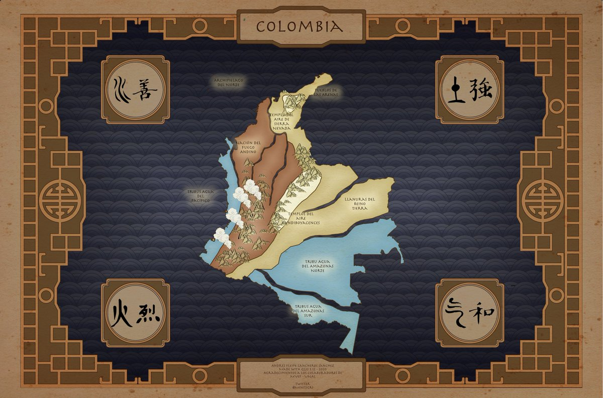 Colombia interpreted in the world of Avatar (Nikelodeon). Especial symbology made with Inkscape, processed in Qgis 3.12. #QGIS #Colombia #Avatar #Fantasy #Mappic.twitter.com/HUncAF35dL
