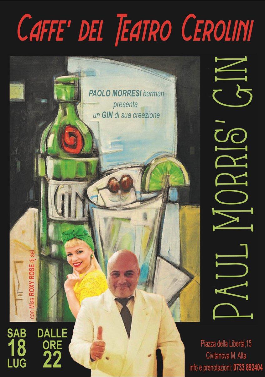 """#sabato 18 #luglio dalle h22 𝙋𝙖𝙪𝙡 𝙈𝙤𝙧𝙧𝙞𝙨' 𝙜𝙞𝙣 Il #barman 𝘗.𝘔𝘰𝘳𝘳𝘦𝘴𝘪 presenterà un #gin di sua creazione. Dal suo genio e follia,una serata indimenticabile per migliorare l'allegria con """"la versione liquida di Photoshop"""": i suoi cocktail. Miss Roxy Rose #djset pic.twitter.com/4tId165N8X"""