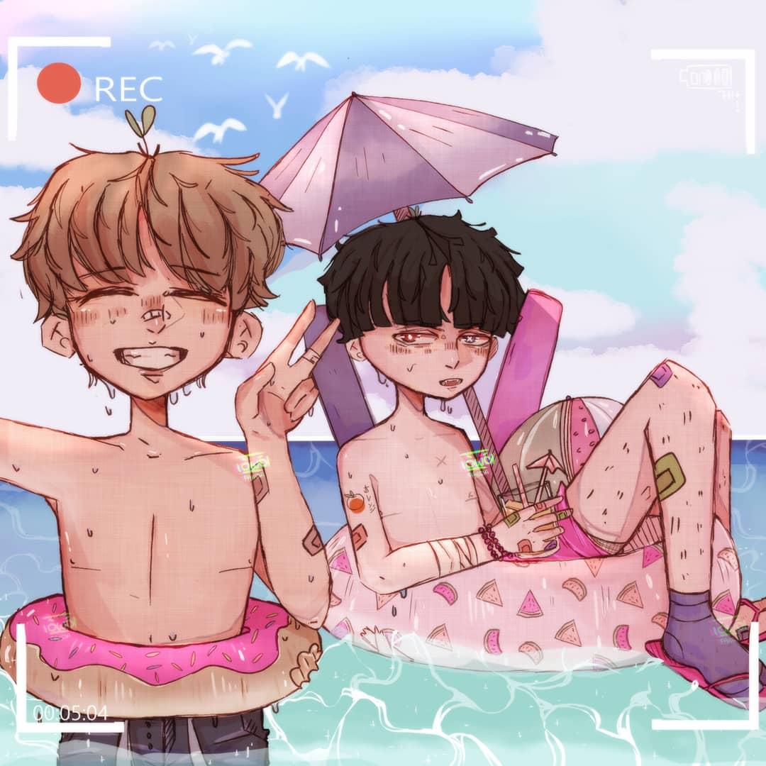 ʏᴏᴜ ᴀʟᴡᴀʏs ʟɪɢʜᴛ ᴜᴘ ᴍʏ ᴡᴏʀʟᴅ  Yō is an absolute fashion icon with his socks and slides on. in the water.   Yō and Makoto on a sunny vacation, ahhh i love them so much #art #originalcharacter #summer #summervibes #drawimg #digitalart #ocean #sea #waterpic.twitter.com/DxVs3oc3Lr
