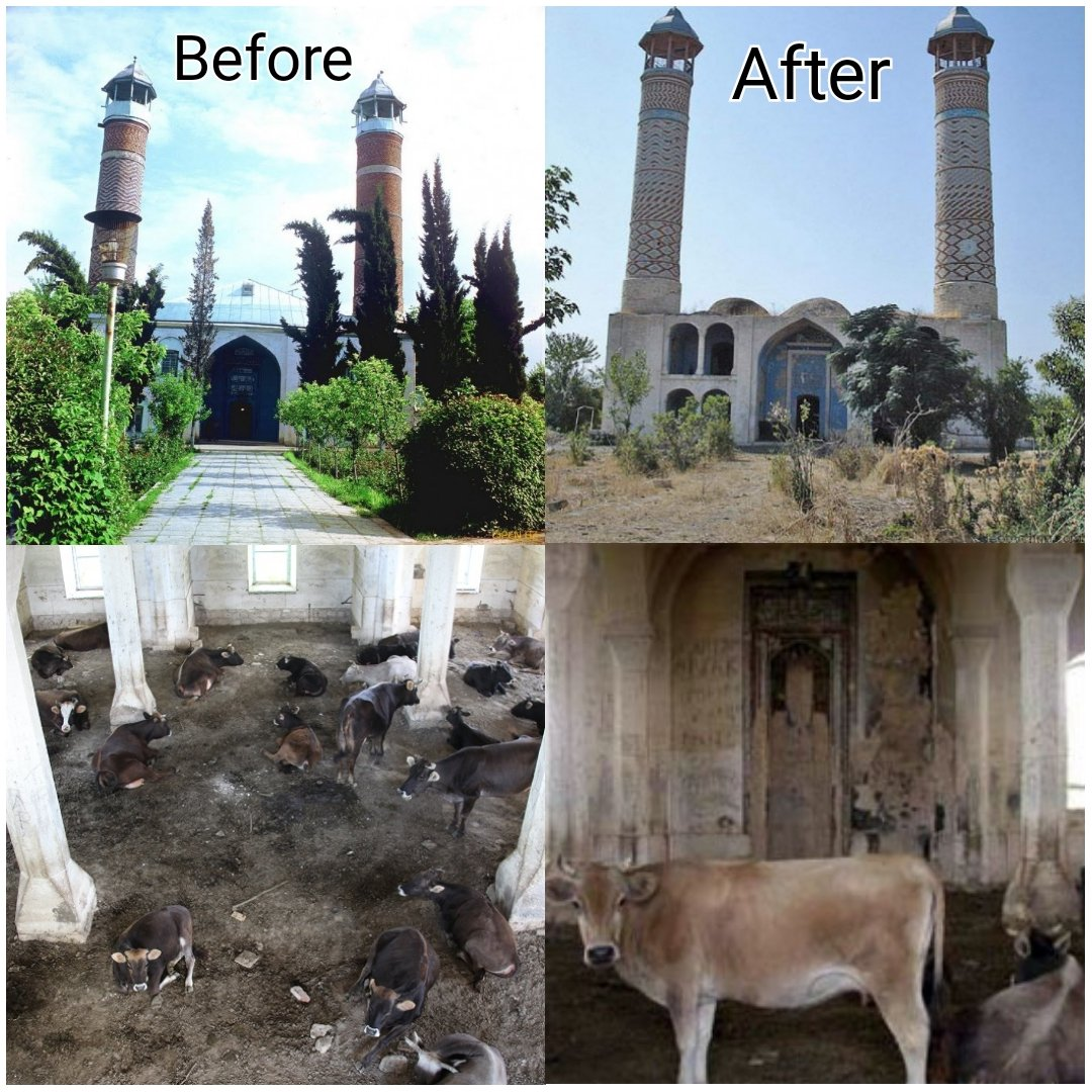 @Ourworld35 Whole #Christian world is talking about #HagiaSophia. But they don't want to talk about a #mosque in Nagorno-Karabakh where Armenians keep pigs and cattle. Agdam mosque turned into a cowshed and pigshed.  #AyasofyaCamii #Azrebaijan #Libya #Syria #EU #UN https://t.co/eVgyrkSB5Z