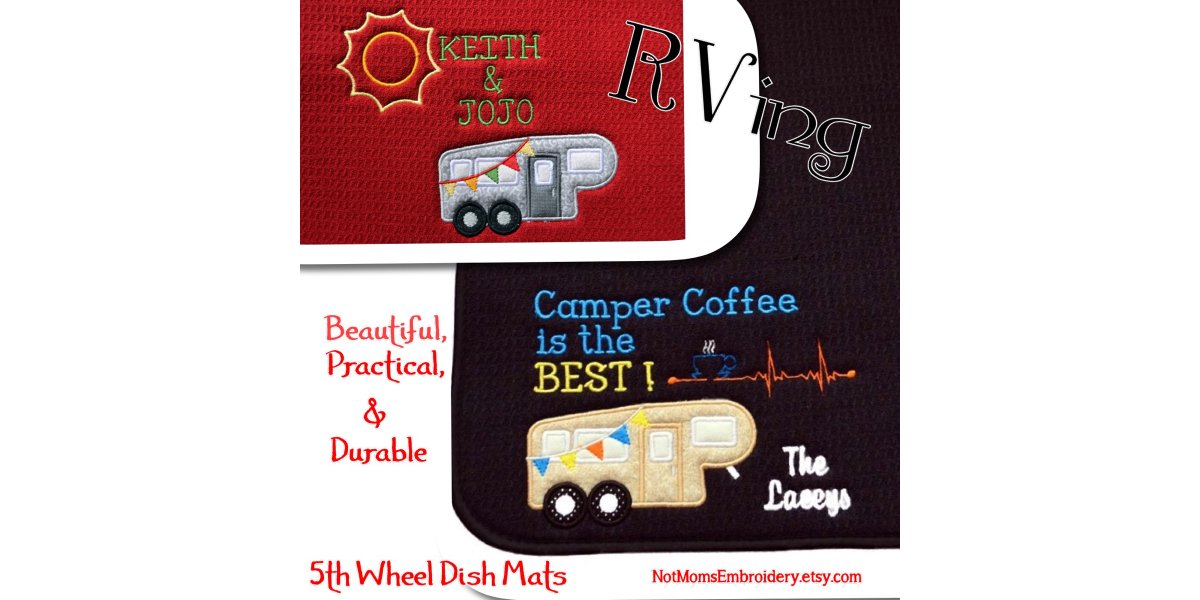 Is your RV kitchen ready for travel?  Do you have a Personalized custom dish drying mat or sliding coffee pot mat just the right size for your camper countertop. You will love these.  http://www.etsy.com/listing/474349084/… #pottiteam #campingmatspic.twitter.com/lAbht1ECO2