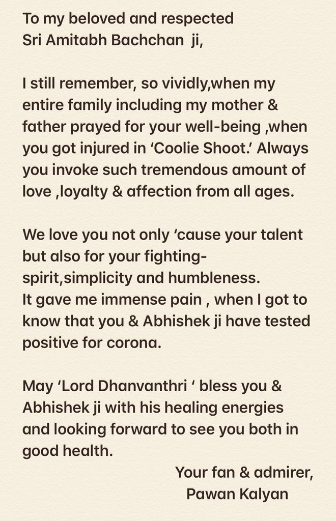 FANtastic tweet #PawanKalyan #AmitabhBachchan #AmitabhBachhan #PowerStarPawanKalyan #PSPk #MegaStarChiranjeevi #RamCharan #JanaSenaParty Get well soon Amitabh Bachchan ji #AbhishekBachchan #AbhishekBacchan  Read Here: https://t.co/lBmybTC8ae https://t.co/4FAJE7banb