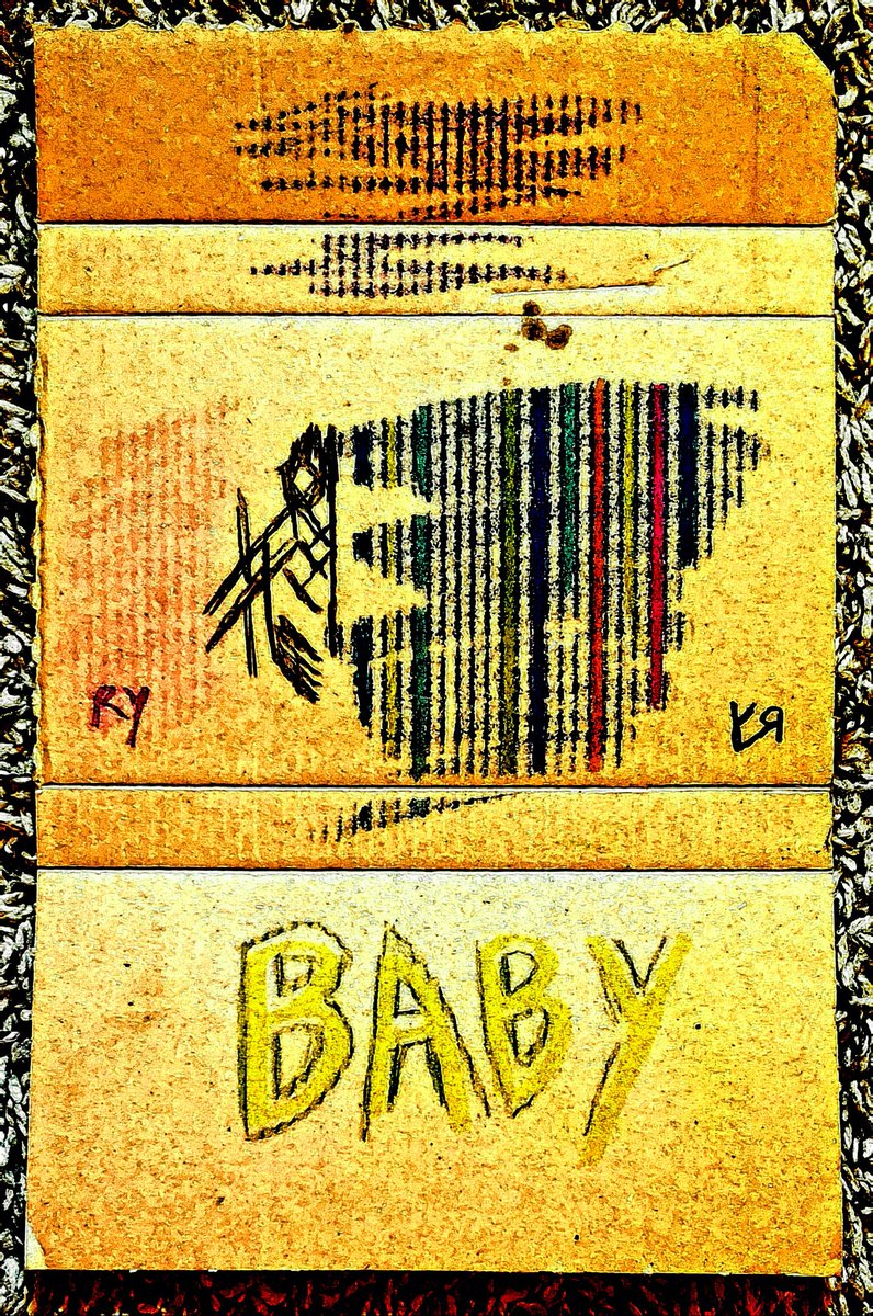 """Abstract Baby"" by Richard F. Yates  [Crayon and felt pen on reclaimed cardboard with digital embellishments and color. 2020]  #art #drawings #digitalart #weird #absurdism #abstractart #humor #trashart #trashforlife #lowcostrevolutionpic.twitter.com/alqXcscYxt"