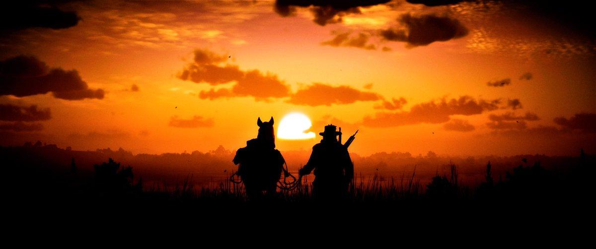 #RDR2 #RedDeadRedemption2 #OutlawsForLife #RDR #PhotoMode #VirtualPhotography #Gametography #GamersUnite #VGPUnite #GamerGram #RockstarGames  #UltrawideScreenshot Western Sunrise https://t.co/yUotoAnqJ6