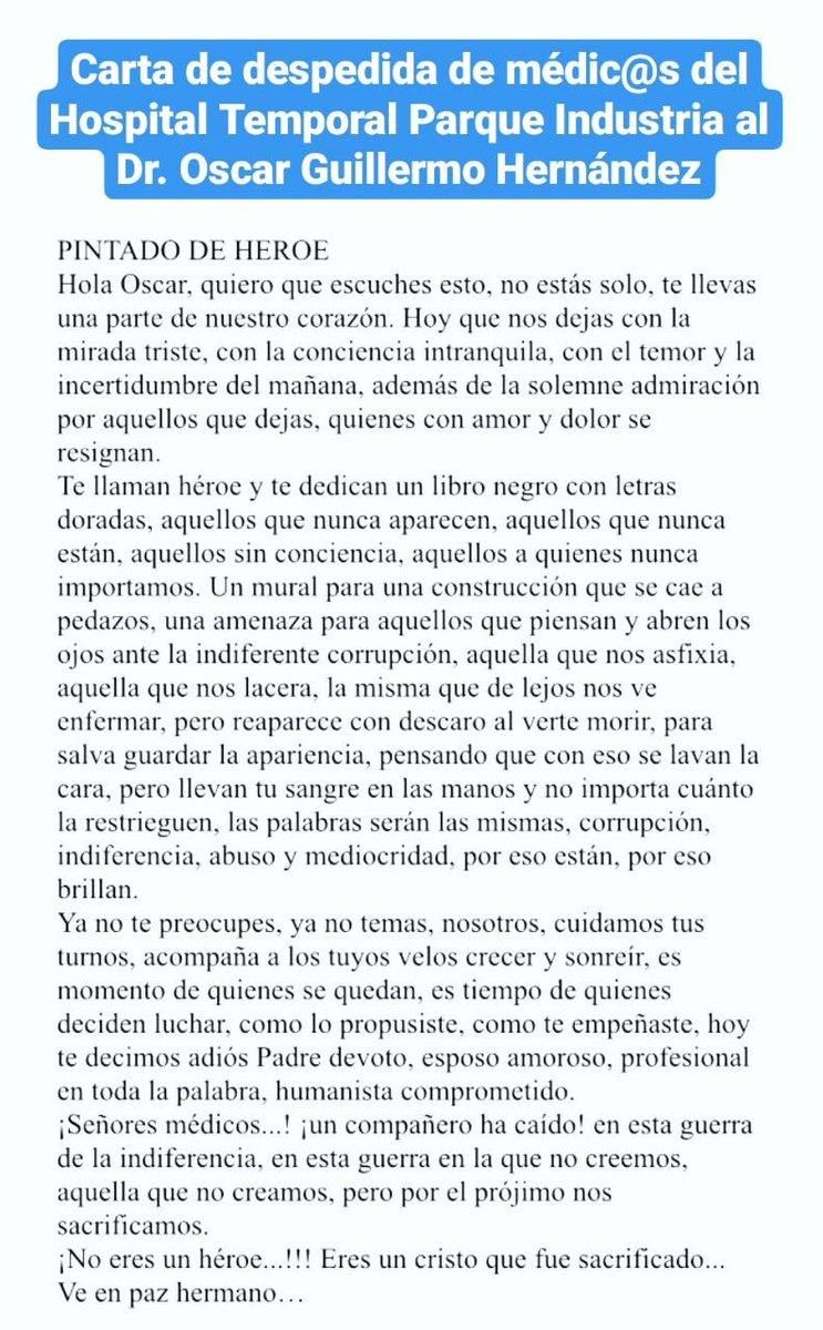 test Twitter Media - Carta con la que médicos del Hospital Temporal del Parque de la Industria despidieron a su colega Óscar Guillermo Hernández. https://t.co/gg2riqdGmi