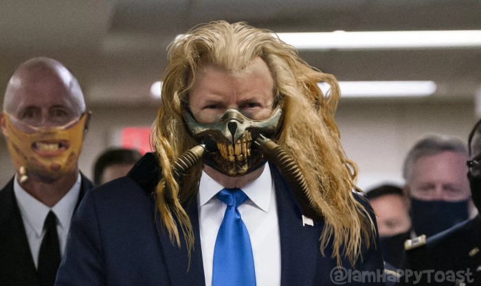 Good to see Donald Trump finally wearing a face mask. Wearing his hair down suits him too. https://t.co/zuTBQQ9kid