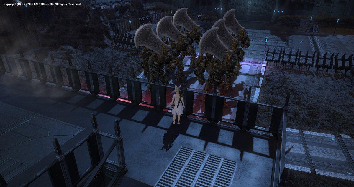 外殻攻略来るたびに思うんですが、この大量の鉄巨人?にちょっかい出して戦闘になるとどうなるんでしょう!?いつも手を出さないように脇を通り過ぎるので気になりました! #FF14