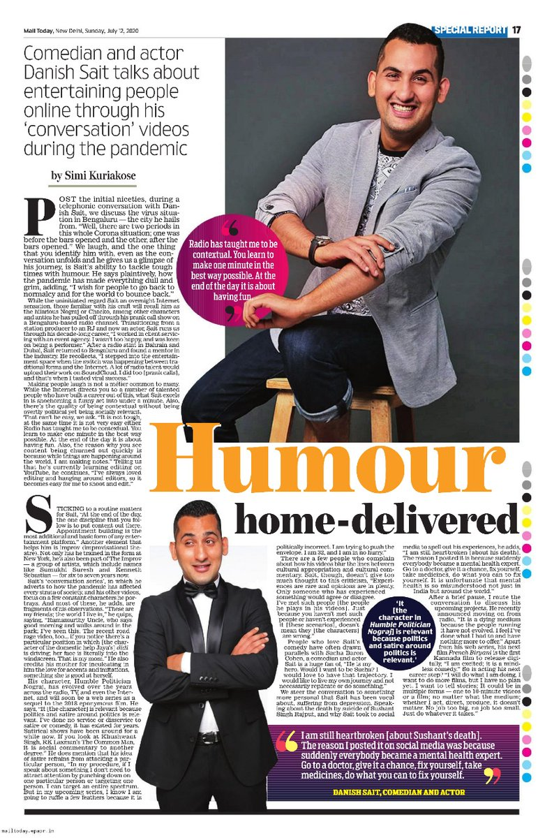 An interesting  interview by @SiMiLater that brought out the playful and cerebral side of @DanishSait  made for a great Sunday read in this morning's full-page special report in @mail_today