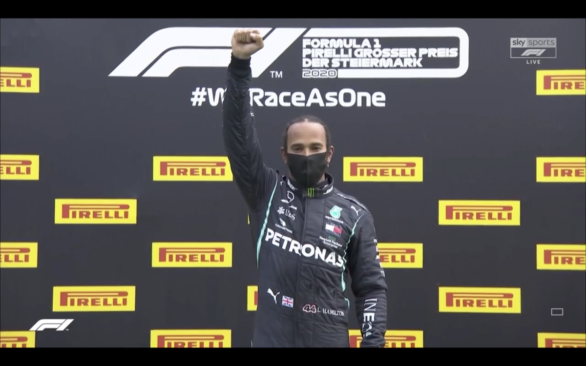 Wow! Lewis Hamilton raises his fist after winning the #StyrianGP!   The scene is reminiscent of the 1968 Mexico City Olympics, when Tommie Smith & John Carlos performed aBlack Power salute while being presented with their medals.  We are witnessing in history. #BlackLivesMatter pic.twitter.com/E0aI9AwvbJ