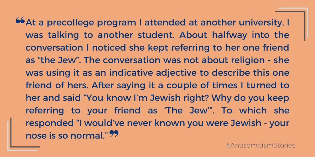 """""""I would've never known you were Jewish - your nose is so normal."""" #AntisemitismStories #Antisemitism #antisemitic #antisemite #JEWS #Jewish #Jew #Stereotypes #discrimination #JewishOnCampus #Students #university"""