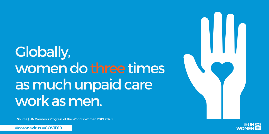 The #COVID19 outbreak is placing a greater burden on women who carry the bulk of care and domestic work at home. It's more important than ever for unpaid care to be recognised and redistributed. Find out more from @UN_Women: https://t.co/O3EwowyYe6 https://t.co/LlXdps4V8I