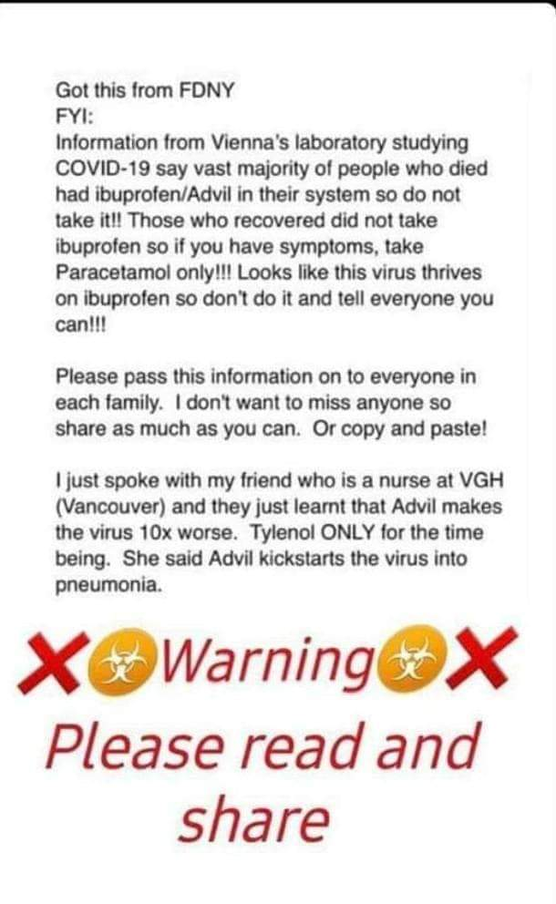 Just a reminder to everyone, if you have fever or colds never take Advil or paracetamol containing IBUPROFEN. We have a lot of kind of paracetamol/biogesic...ask the  pharmacy that they're giving you a paracetamol without an ibuprofen content. FYI pic.twitter.com/hQqmIQCHas
