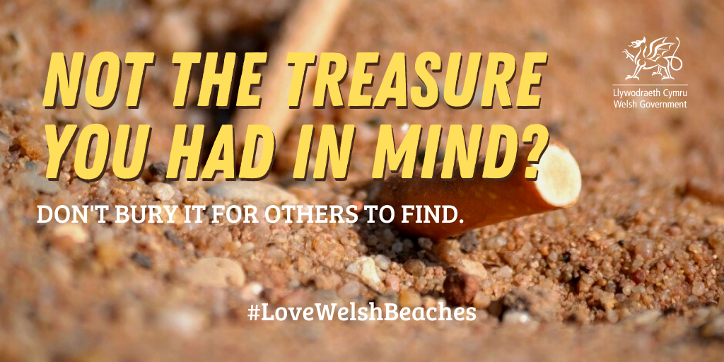Please respect our beaches and take your cigarette butts home with you. #LoveWelshBeaches
