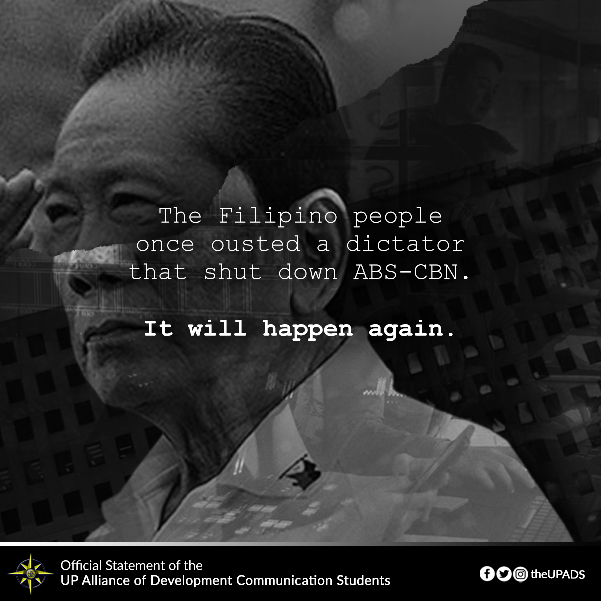 The Filipino people once ousted a dictator that shut down ABS-CBN. It will happen again.  Read full statement: https://bit.ly/2Ogy8Y1  #OustDuterte #DefendPressFreedom #NoToABSCBNFranchiseDenialpic.twitter.com/tSqo3DrvzO