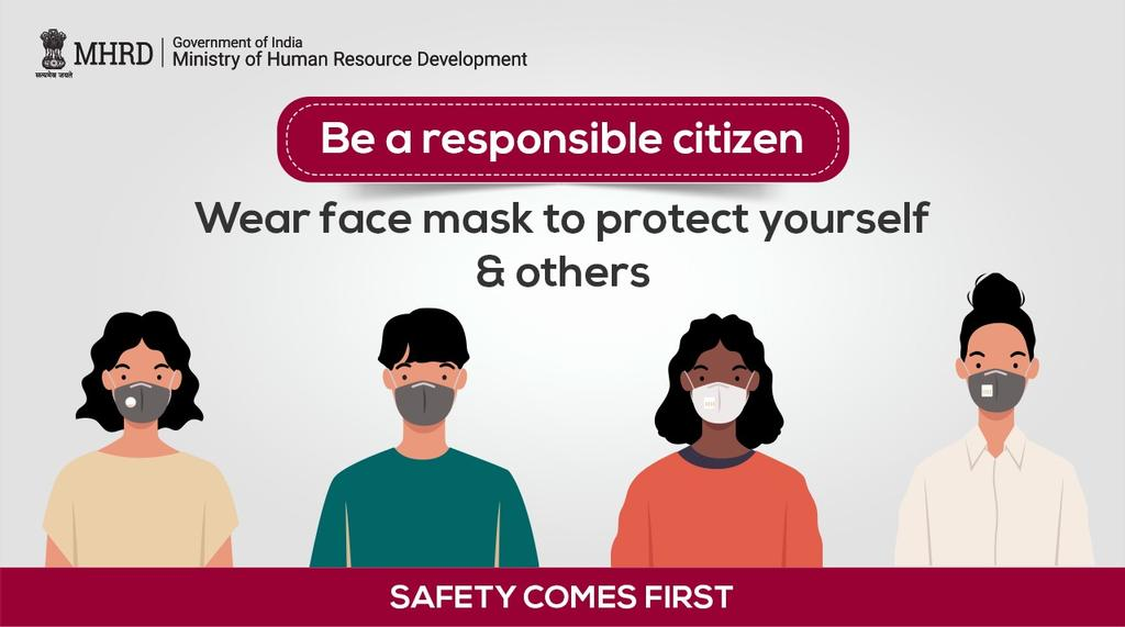 Covering your NOSE & MOUTH with a face mask or using a face cover helps in putting a stop on the spread of #COVID19.  So, be a responsible citizen and make sure you stay protected! #IndiaFightsCorona https://t.co/BV5Gges0zx