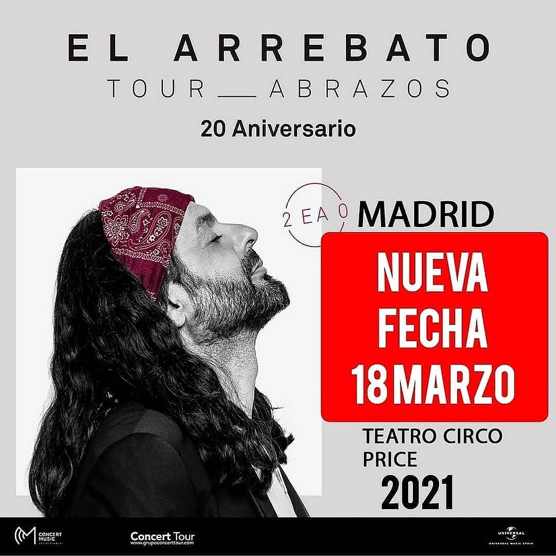 18 Marzo 2021 Concierto de @arrebatoficial en @circoprice de Madrid. Entradas a la venta en https://t.co/dcHDgVNt16 Concierto Recomendado por @ElFiesta_es y @TourAbrazos https://t.co/XaMV6JESq4