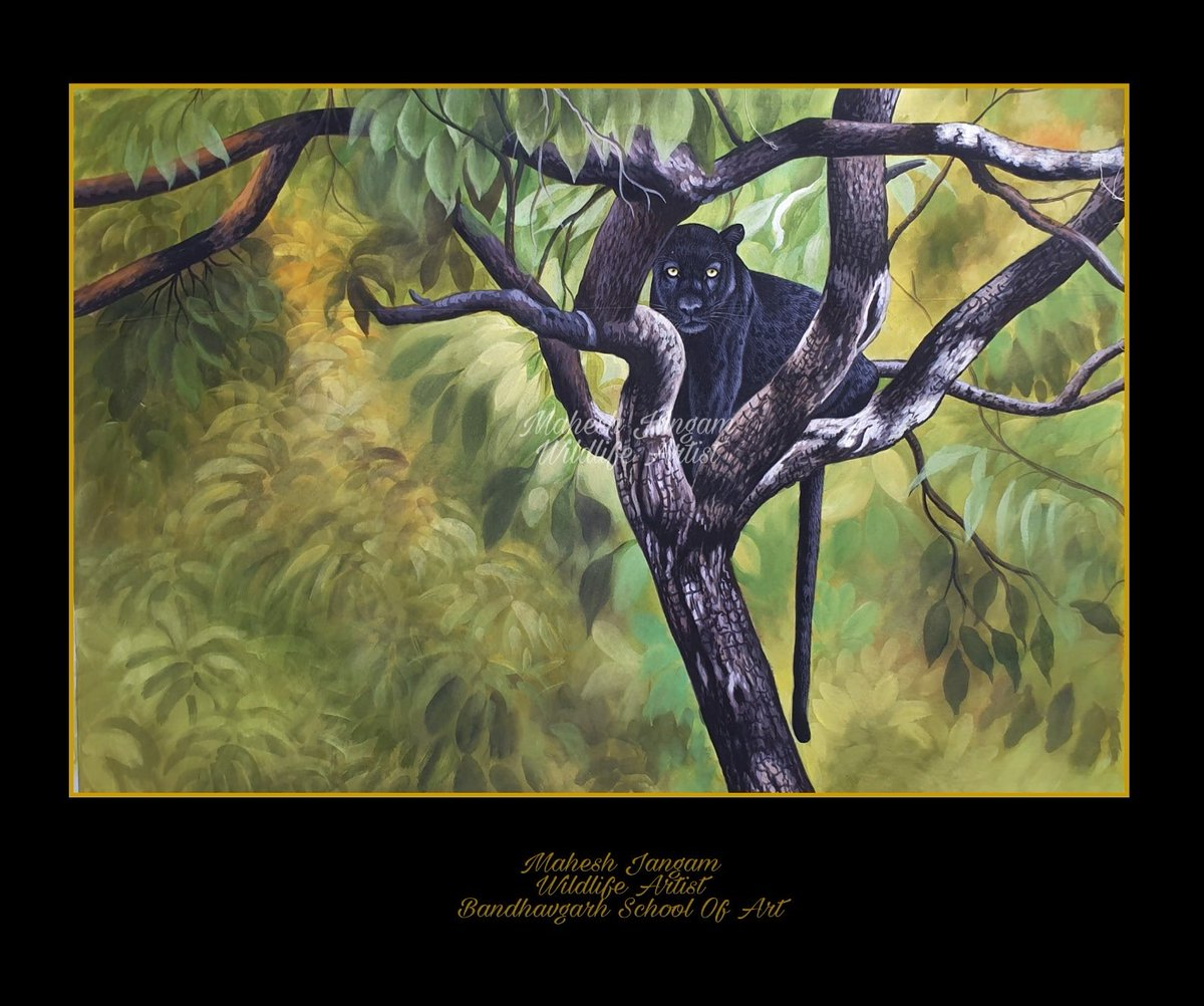 A Bagheera! Look at this lord of the jungle! Painting by artist @maheshjangam7. #blackleopard #blackpantherpic.twitter.com/4ygsBrzIvy