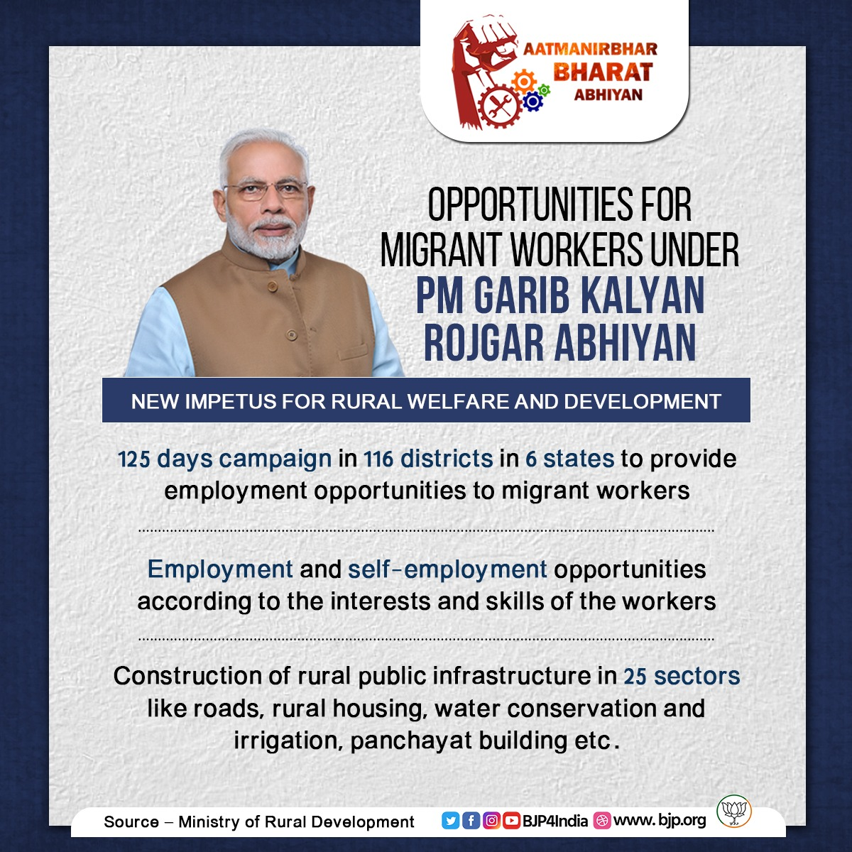 Modi government is providing work opportunities for returned migrant workers under PM Garib Kalyan Rojgar Abhiyan.  The initiative will run in mission mode in 116 districts in 6 states for 125 days and will provide an impetus to rural economy and infrastructure. https://t.co/RwdrqYczKn