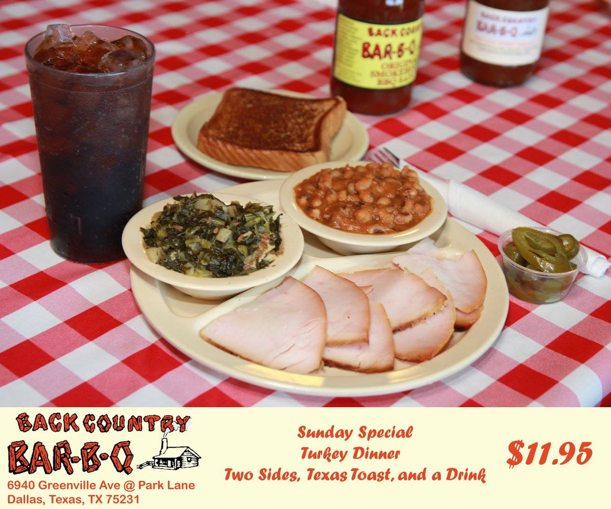 Its Sunday, and the special is delicious Smoked Turkey! You can eat inside, get it to-go, or order online at http://backcountrybbq.com! We're open from 11 am to 8 pm, except Sundays from 11 am to 3 pm. 214-696-6940pic.twitter.com/Chw8n3w0QY