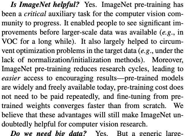 Rethinking ImageNet Pre-trainingに遡ると、ImageNetの果たした役割についての議論が。学習済みモデル+〇〇のビジネスを可能にして、これだけ応用が広まったのだなぁ。そしてこの論文から二年弱の今、特に物体検出では教師なしで学習する有利さが明らかになりつつあり…