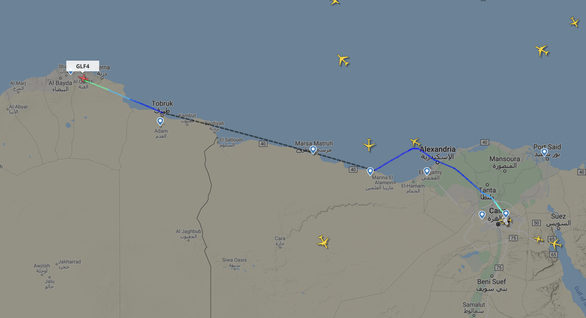 12Jul2020 around 1330 hrs UTC: a Gulfstream 300 from Cairo, #Egypt landing at Beida Al Abraq, #Libya  Probably 5A-FLL, which is active again since May. https://t.co/vNMklD91Gu