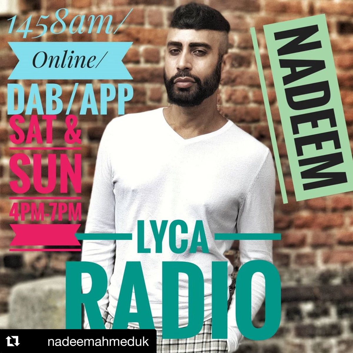 Lyca  Sunday is Funday! @NadeemAhmedUK   Join me today #lycaradio 4pm-7pm UK Time on -  1458am/Online/DAB/Phone App.  Miss it! Miss out!  #radio #presenter #host #arabic #spanish #worldmusic #dance #globalsounds #weekend #bollywoodmusic #arabicmusic #dance #bollywood #remixespic.twitter.com/SnbztCpoFu
