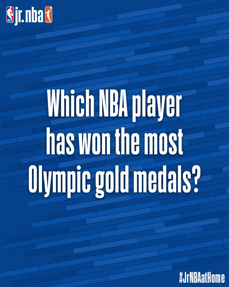 Time for #JrNBAatHome Trivia‼️   Do you know what @NBA player has won the most Olympic gold medals⁉️ Tag a friend who knows the answer! 🥇 https://t.co/5WiAeaI1XR