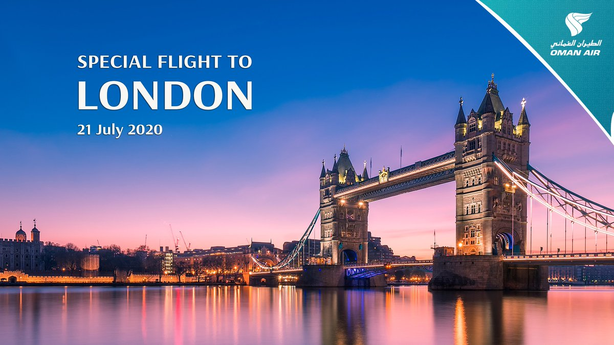 #OmanAir will operate a special flight between #Muscat and #London on July 21, 2020. For bookings or additional information, please call +96893561117 / +96824765142 or email mct.sales@omanair.com between 0800-1600 Muscat local time (Sunday-Thursday). Book now! #Fly_Confidently