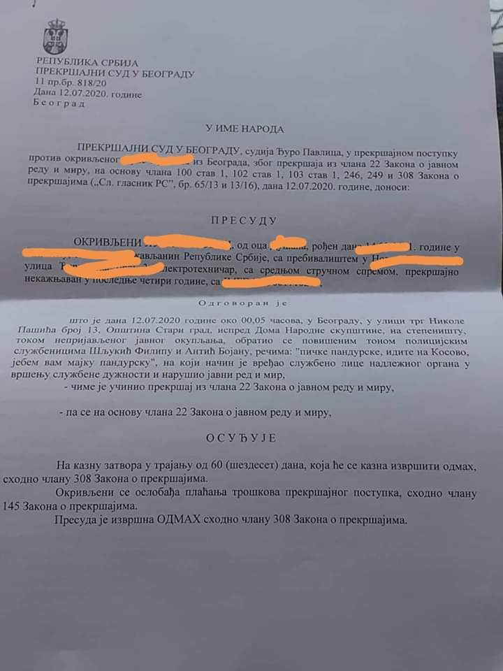 Dva meseca zatvora za povik: Pičke pandurske, idite na Kosovo. https://t.co/Bk5yFkxAZg