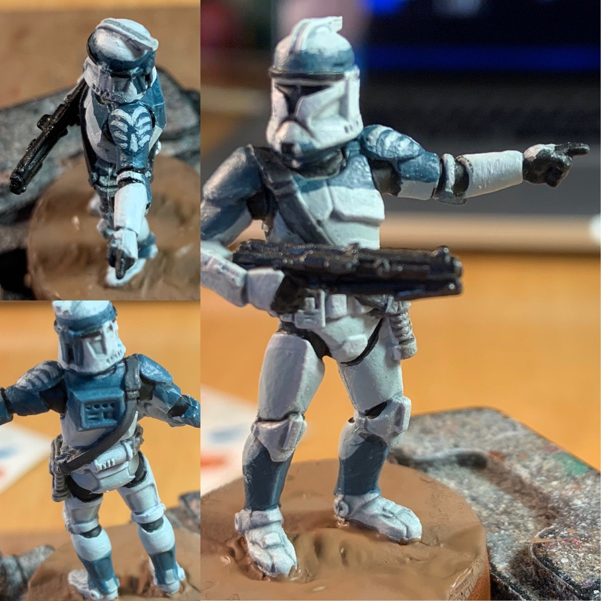 First attempt at a Phase 1 Clone Trooper for #StarWarsLegion. Going for the 104th Batallion, aka Wolf Pack. The shoulder pad is really tricky. Hopefully can get better at painting it. https://t.co/mtpFX4FZgl