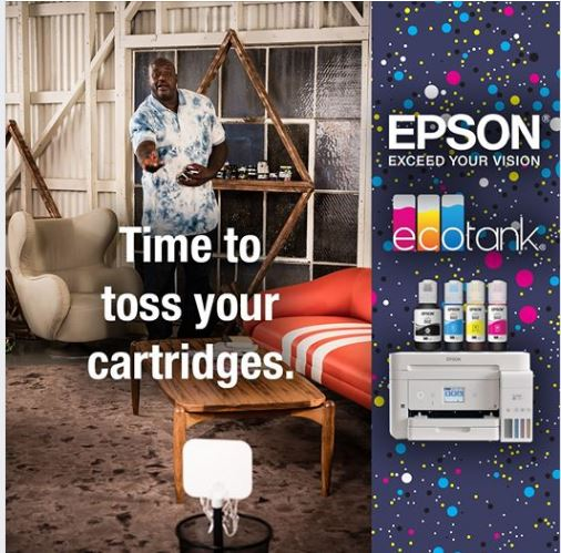So long, expensive little cartridges 👋Ink tanks are where it's at! #JustFillAndChill #EcoTank #Epson #Shaq Give us a call 888-895-5173