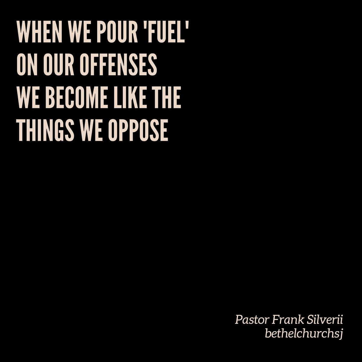 """""""When we pour 'fuel' on our offenses, we bring like the things we oppose."""" -Pastor Frank Silverii, Hot Topics sermon  #socialmedia #politics #culturepic.twitter.com/rY53KrZ8qb"""
