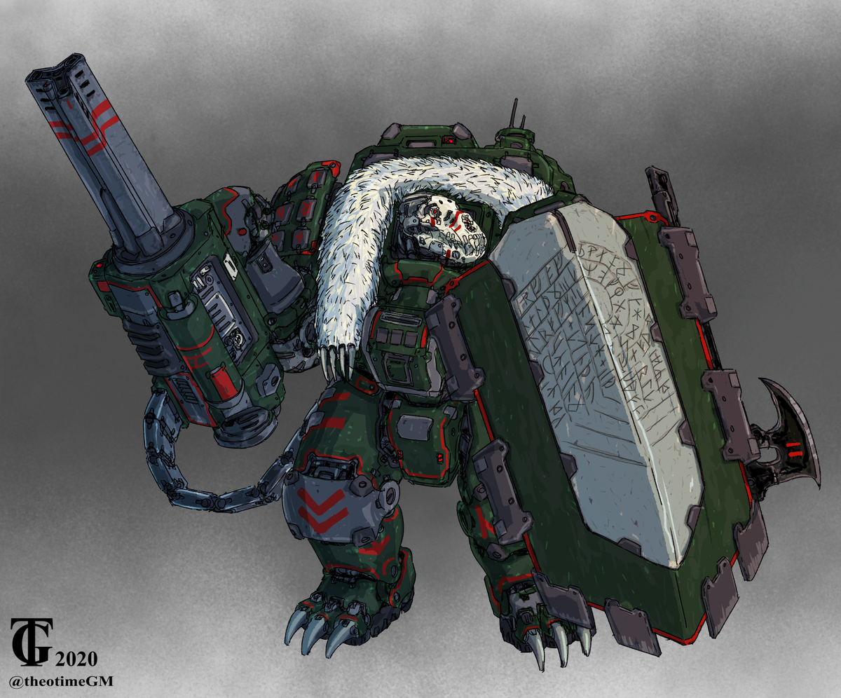 A custom Bear Drake from @Lancer_RPG  for @TheChrizzlyBear . This one has a Saga still to be written on his shield.  #LancerRPG #mecha #scifiart #ArtistOnTwitterpic.twitter.com/Cx4LzSfcho