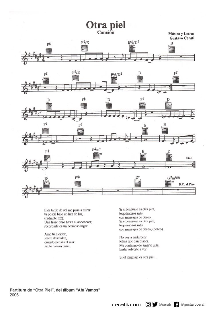 "Partitura de ""Otra Piel"", del álbum ""Ahí Vamos"" 2006 https://t.co/Lv896hRhJp"