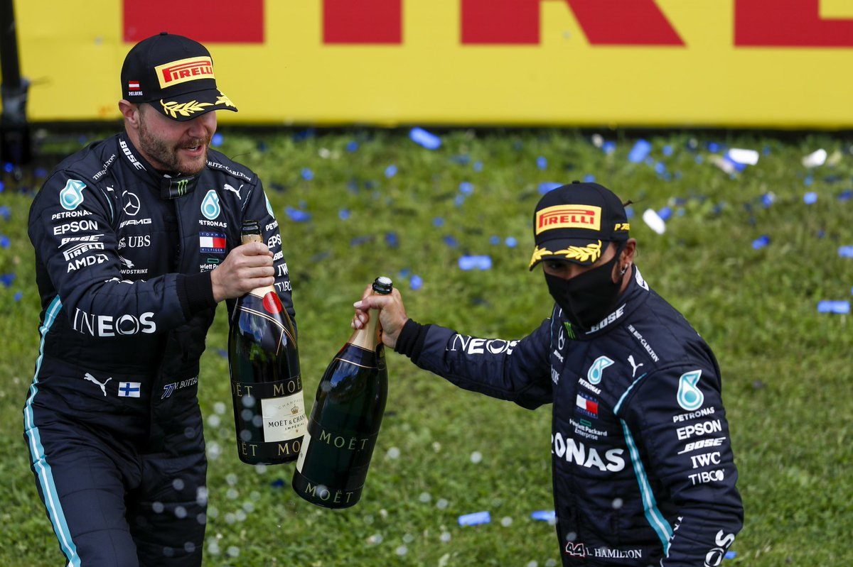 Cheers, boys 🥂 A first 1-2 of @F1 2020. We'll drink to that! 😉 https://t.co/uvqAvq4QmS