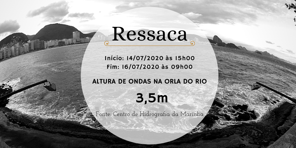 RESSACA 🌊 | Foi emitido um Aviso de Ressaca pela Marinha do Brasil, NR 842/2020, com início às 15h00 do dia 14/07/2020 e fim às 09h00 do dia 16/07/2020. A previsão da altura de onda é de até 2,5m/3,5m, com direção Sudoeste/Sudeste. https://t.co/i1y20AlZnR