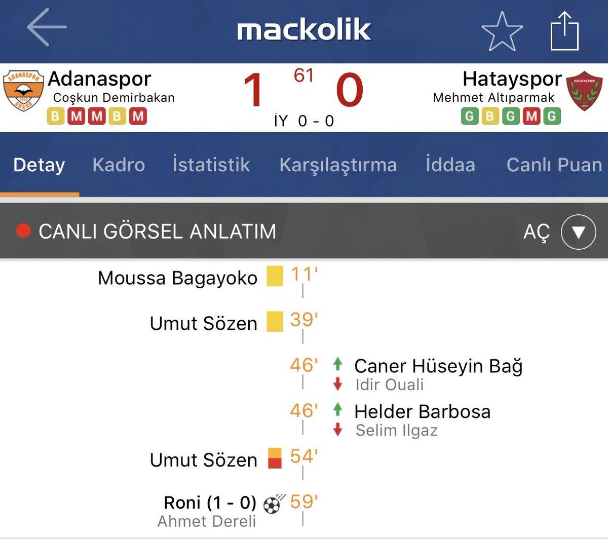 Mackolik On Twitter Adanaspor Hatayspor Karşısında öne Geçti