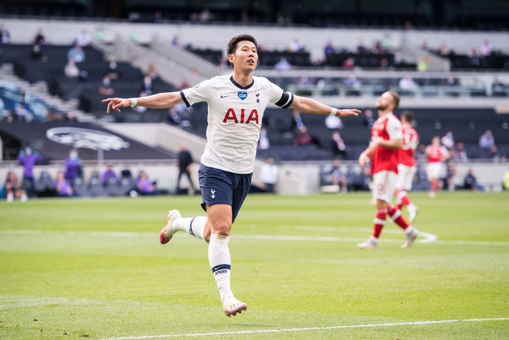 Heung-Min Son ⚽️1st goal in 10 PL apps v Arsenal ⚽️4th player to score 10+ PL goals in 4 successive seasons for Spurs, after Teddy Sheringham, Robbie Keane & Harry Kane