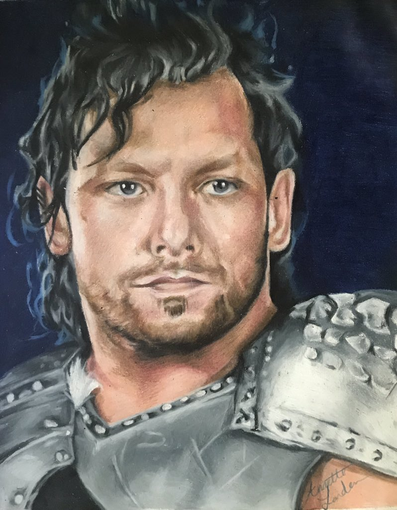 Newest drawing of @KennyOmegamanX in my sketchbook. Prismacolor pencils and about 8 hours of work between a few days and it's done. My progress work is in the comments. #AEWDynamite #AEW #njpwworld