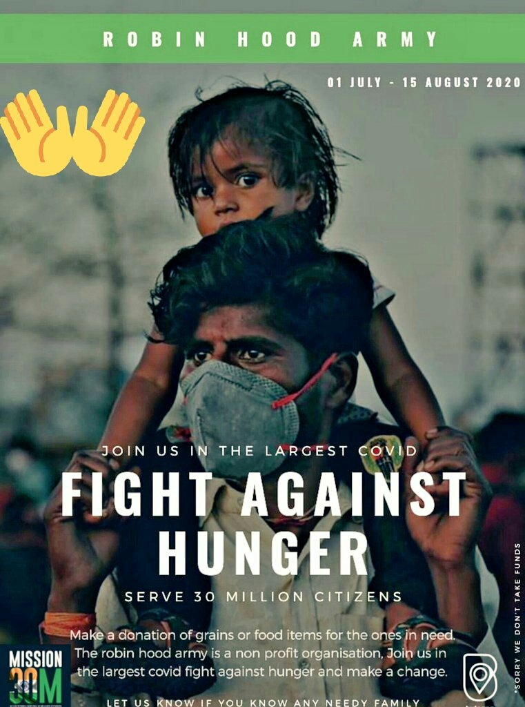 #Mission30M #Rhaindore   Join the largest COVID fight against hunger by donating grains to needy peoples. .   Be a part of someone's happy life 💚👏 #donate  #DonateBloodSaveLives  #helpingotherschallenge  #IndiaFightsCoronavirus  @WHO https://t.co/VEXAOxhYmZ