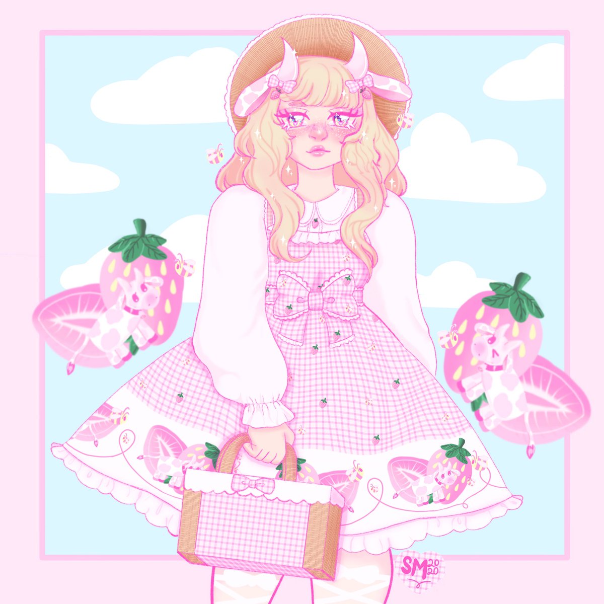 Strawberry cow country lolita , #kawaii #strawberry #strawberrycow #countrylolita #pink #gingham #egl #sweetlolita #pastel #digitalart #illustration @procreate #kawaiiart  #procreate  #ottsweet #pastelaesthetic #myart #pink #blue  #illustrator #uwu #prettypic.twitter.com/48YEXzgwdy
