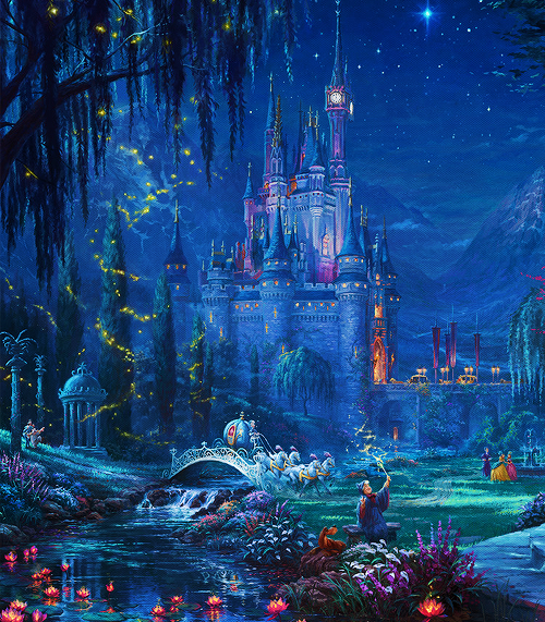 """Be kind, have courage and always believe in a little magic."" - Cinderella, Disney. These beautiful paintings are by Thomas Kinkade.  #fairytales pic.twitter.com/CAvJi5dJEY"
