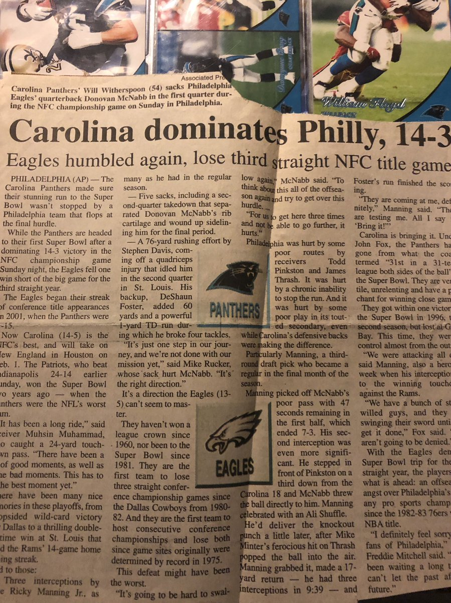 One of my favorite @Panthers games ever. Still got the newspaper article about it. Sent us to our first Super Bowl. #keeppounding https://t.co/was4foGfpw