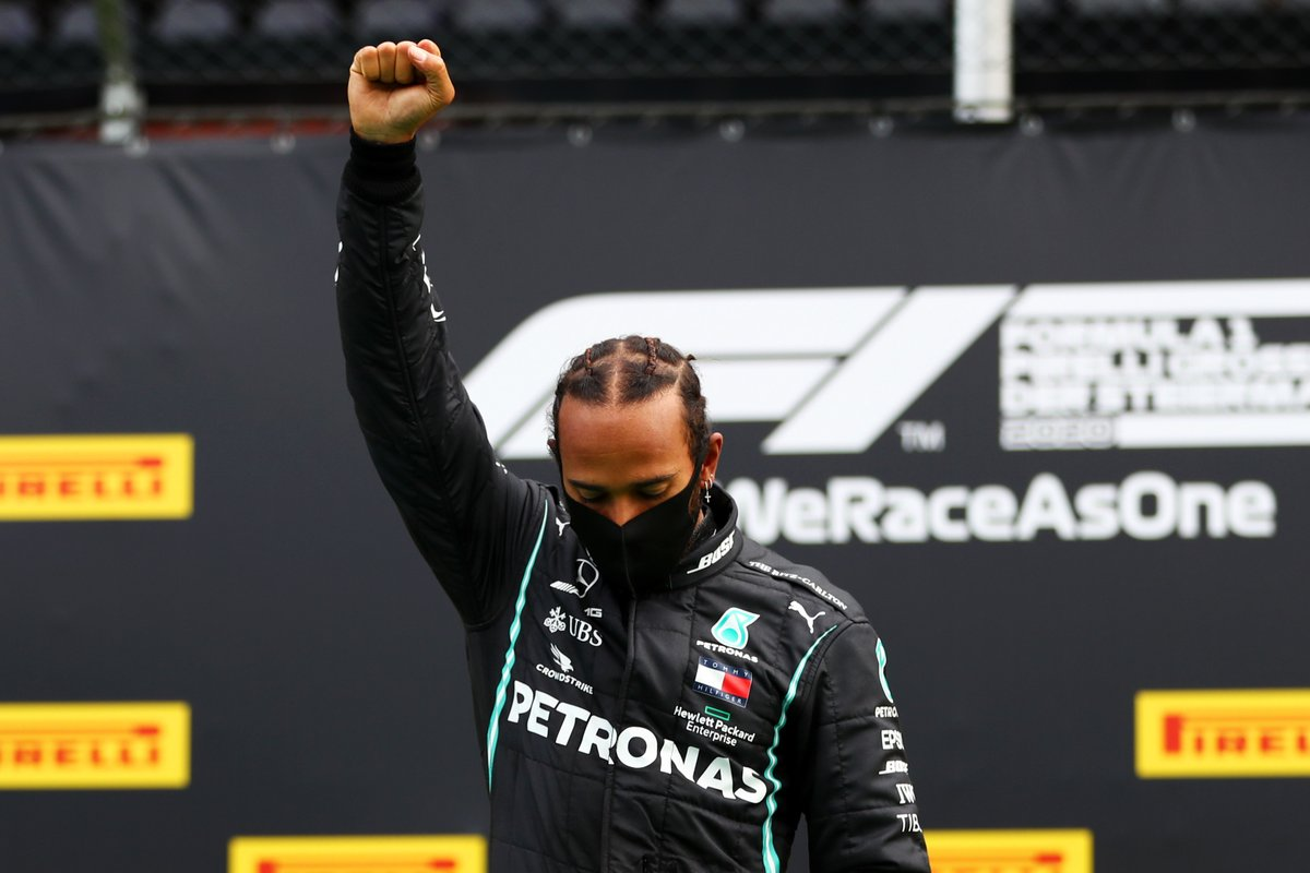 Lewis Hamilton raises a fist after taking first place at the Styrian Grand Prix 🏆  Hamilton became the first Black driver to race in Formula One in 2007. He remains the grid's only Black driver. https://t.co/96Z0z25etT