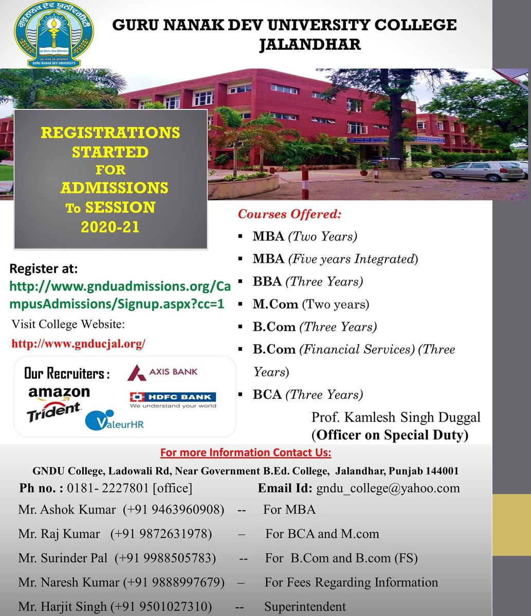 Contact: Mr.Harjit Singh Thind 9501027310 Mr. Ashok Kumar 9463960908-For MBA  Mr. Raj Kumar  9872631978-For BCA and http://M.com Mr. Surinder Pal  9988505783-For  http://B.Com and http://B.com (FS) Mr. Naresh Kumar 9888997679 For Fees Inquirypic.twitter.com/OLLaeyZALM